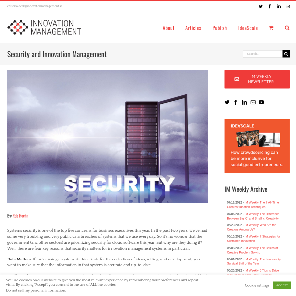 Security and Innovation Management - Innovation Management