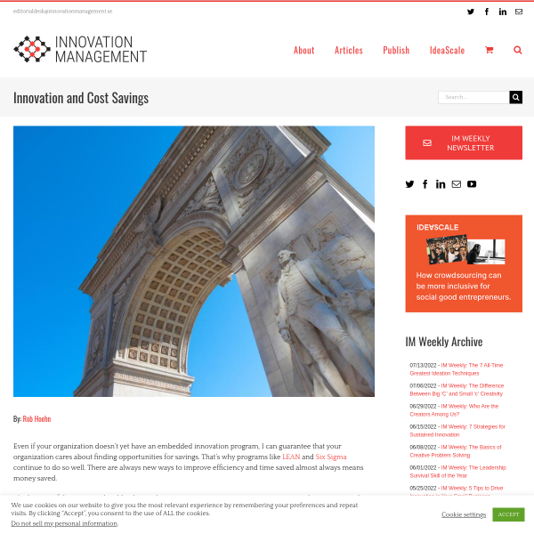 Innovation and Cost Savings - Innovation Management