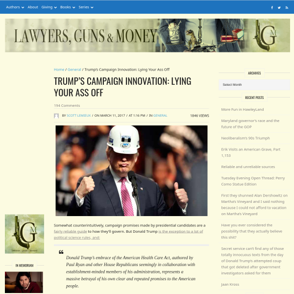 Trump's Campaign Innovation: Lying Your Ass Off - Lawyers, Guns & Money