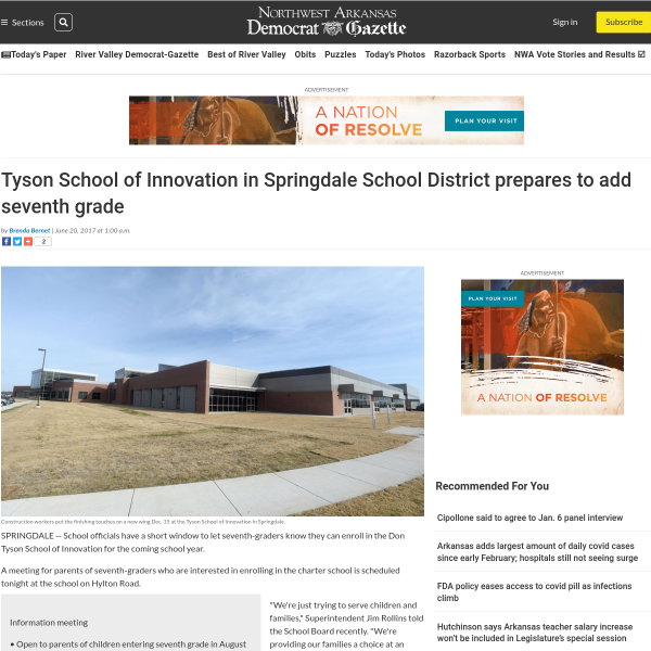 Tyson School of Innovation in Springdale School District prepares to add seventh grade