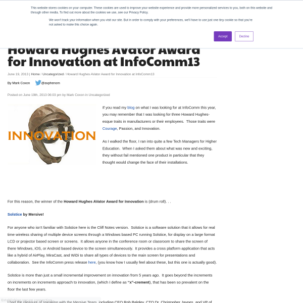 Howard Hughes AVator Award for Innovation at InfoComm13 - rAVe [Publications]