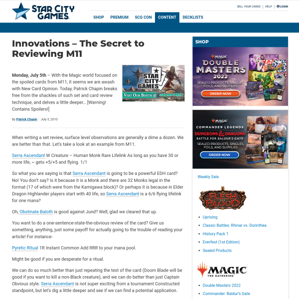 StarCityGames.com - Innovations - The Secret to Reviewing M11