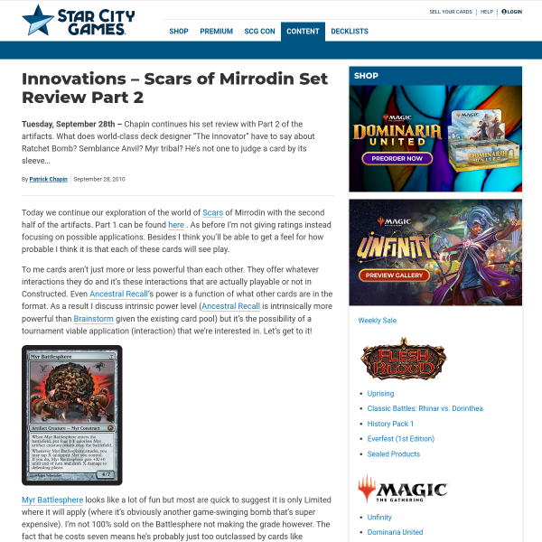 StarCityGames.com - Innovations - Scars of Mirrodin Set Review Part 2