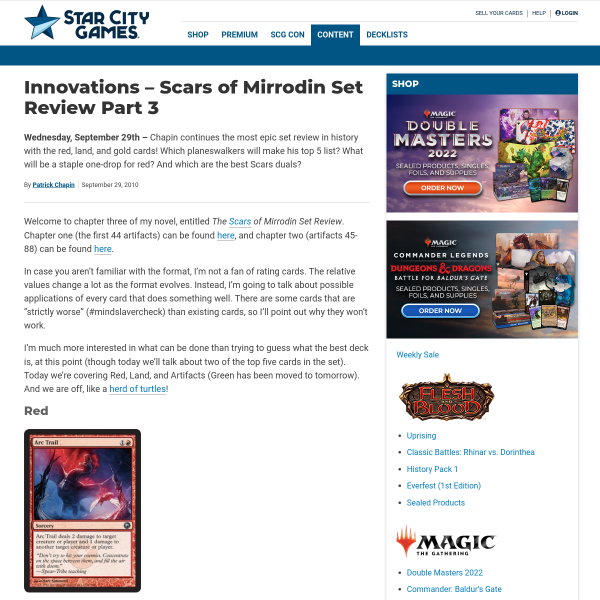 StarCityGames.com - Innovations - Scars of Mirrodin Set Review Part 3