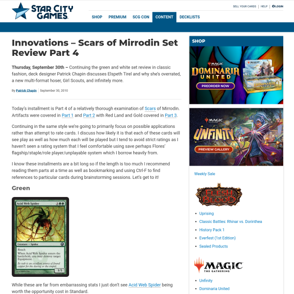 StarCityGames.com - Innovations - Scars of Mirrodin Set Review Part 4