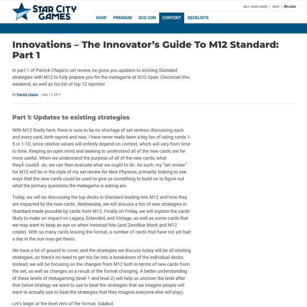 StarCityGames.com - Innovations - The Innovator's Guide To M12 Standard: Part 1
