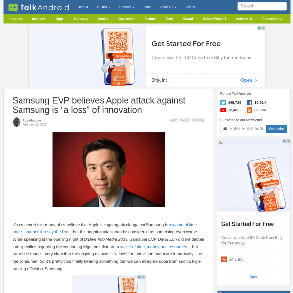 "Samsung EVP believes Apple attack against Samsung is ""a loss"" of innovation"