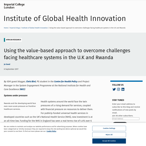 Using the value-based approach to overcome challenges facing healthcare systems in the U.K and Rwanda - Institute of Global Health Innovation