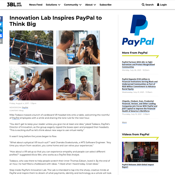 Innovation Lab Inspires PayPal to Think Big