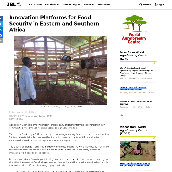 Innovation Platforms for Food Security in Eastern and Southern Africa