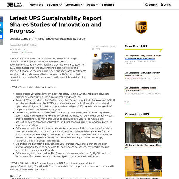Latest UPS Sustainability Report Shares Stories of Innovation and Progress