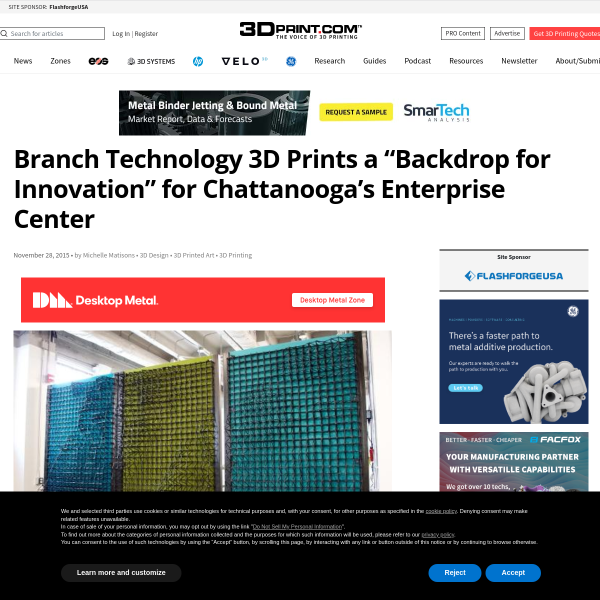 "Branch Technology 3D Prints a ""Backdrop for Innovation"" for Chattanooga's Enterprise Center"