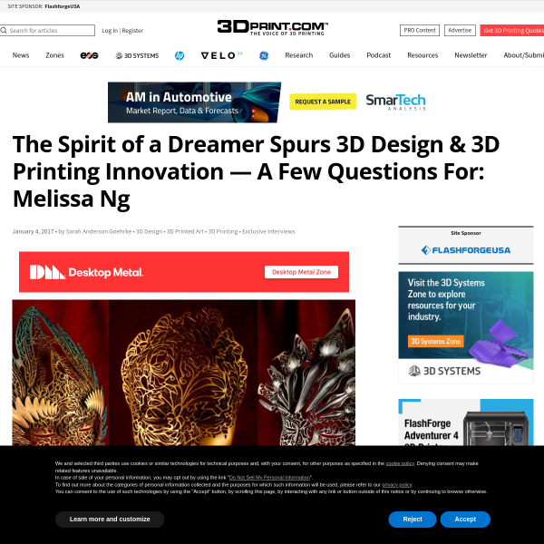 The Spirit of a Dreamer Spurs 3D Design & 3D Printing Innovation — A Few Questions For: Melissa Ng
