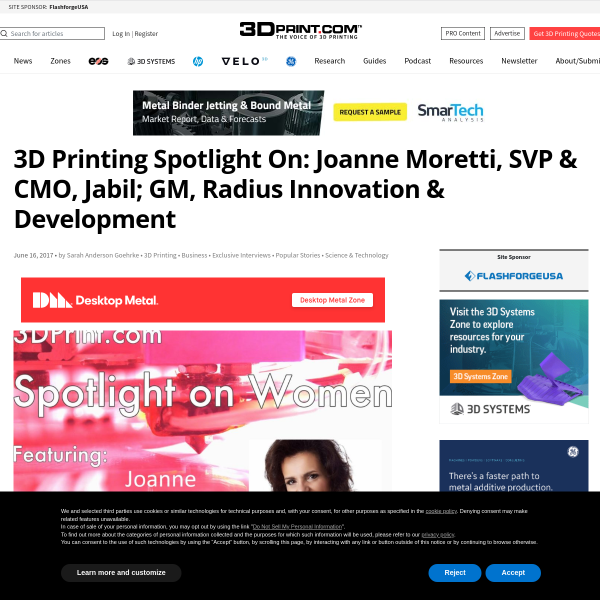 3D Printing Spotlight On: Joanne Moretti, SVP & CMO, Jabil; GM, Radius Innovation & Development