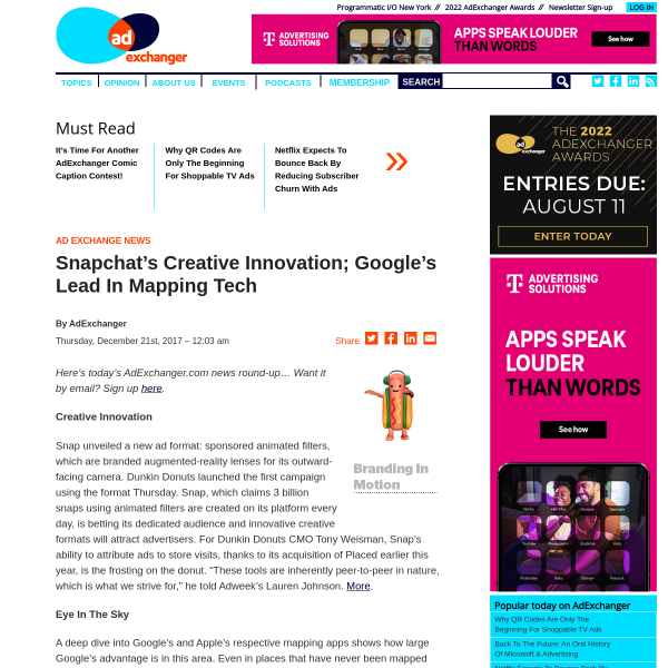 Snapchat's Creative Innovation; Google's Lead In Mapping Tech - AdExchanger