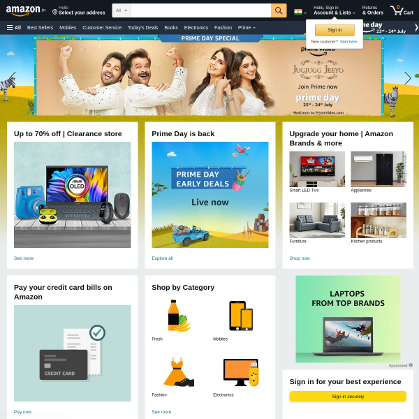 Online Shopping site in India: Shop Online for Mobiles, Books, Watches, Shoes and More - Amazon.in screenshot