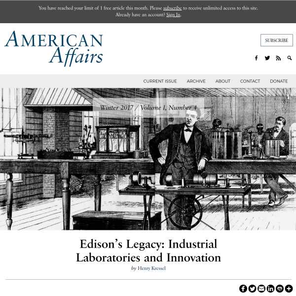 Edison's Legacy: Industrial Laboratories and Innovation - American Affairs Journal