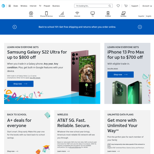 AT&T® Official Site - Phone Plans, Internet Service, & TV - att.com screenshot