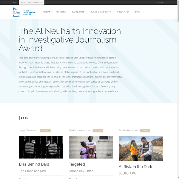 The Al Neuharth Innovation in Investigative Journalism Award - Online Journalism Awards