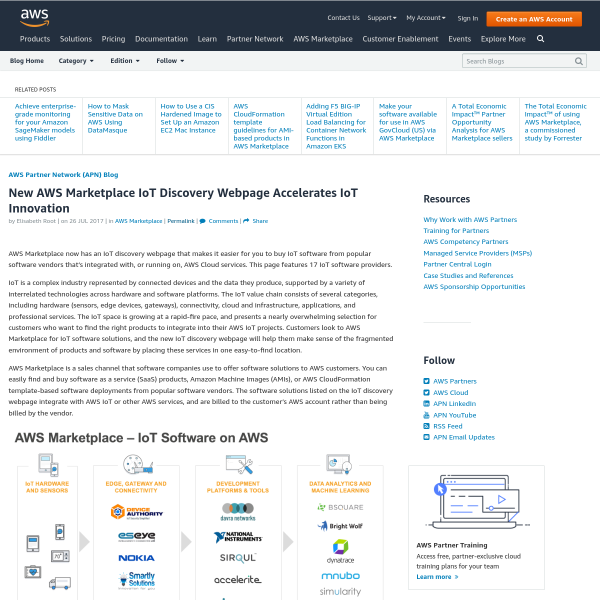 New AWS Marketplace IoT Discovery Webpage Accelerates IoT Innovation - Amazon Web Services