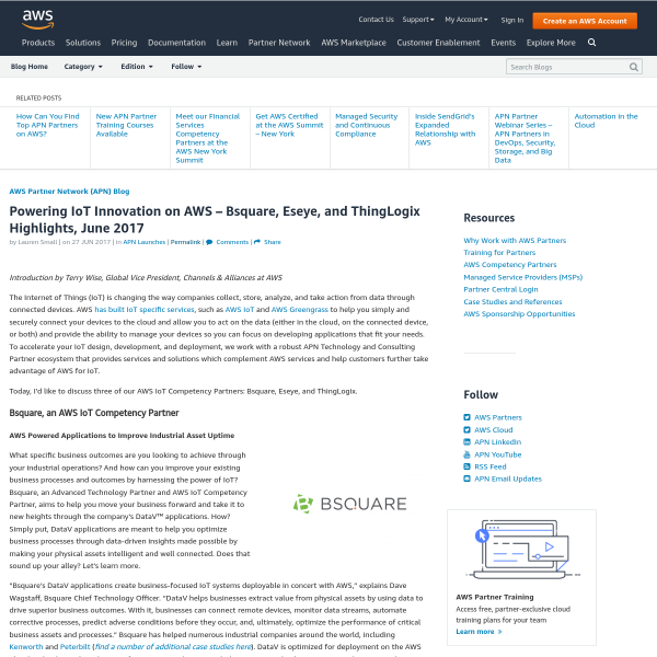 Powering IoT Innovation on AWS – Bsquare, Eseye, and ThingLogix Highlights, June 2017 - Amazon Web Services