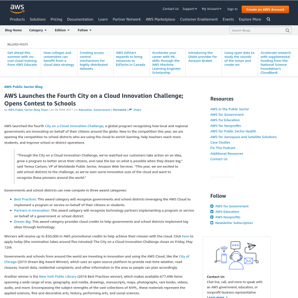 AWS Launches the Fourth City on a Cloud Innovation Challenge; Opens Contest to Schools - Amazon Web Services