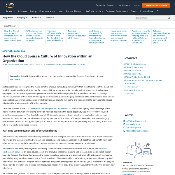 How the Cloud Spurs a Culture of Innovation within an Organization - Amazon Web Services