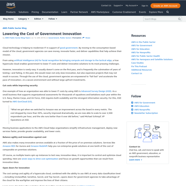 Lowering the Cost of Government Innovation - Amazon Web Services
