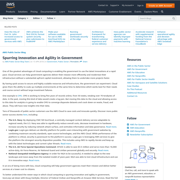 Spurring Innovation and Agility in Government - Amazon Web Services