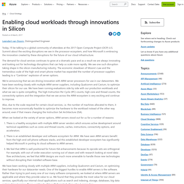 Enabling cloud workloads through innovations in Silicon - Blog - Microsoft Azure