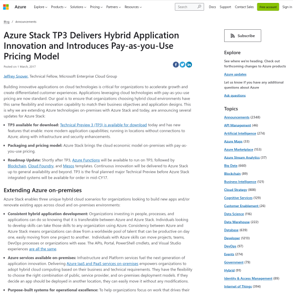 Azure Stack TP3 Delivers Hybrid Application Innovation and Introduces Pay-as-you-Use Pricing Model - Blog - Microsoft Azure