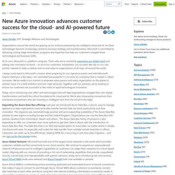 New Azure innovation advances customer success for the cloud- and AI-powered future - Blog - Microsoft Azure