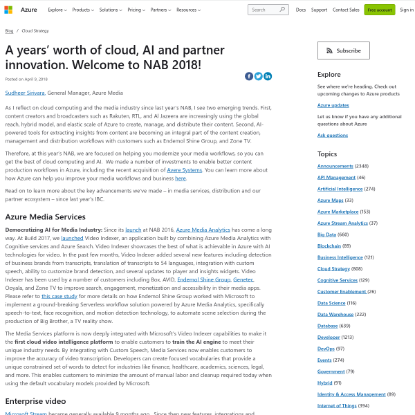 A years' worth of cloud, AI and partner innovation. Welcome to NAB 2018!