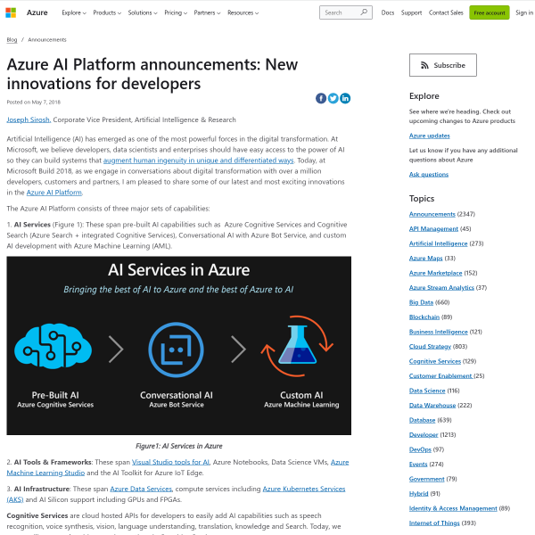 Azure AI Platform announcements: New innovations for developers