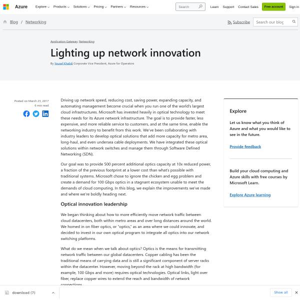 Lighting up network innovation