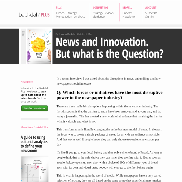 News and Innovation. But what is the Question?