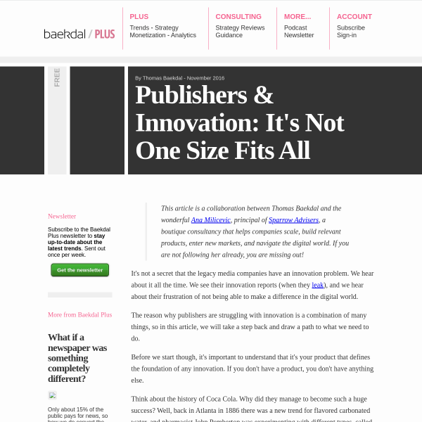 Publishers & Innovation: It's Not One Size Fits All