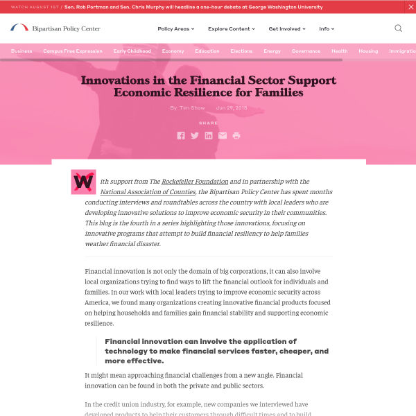 Innovations in the Financial Sector Support Economic Resilience for Families