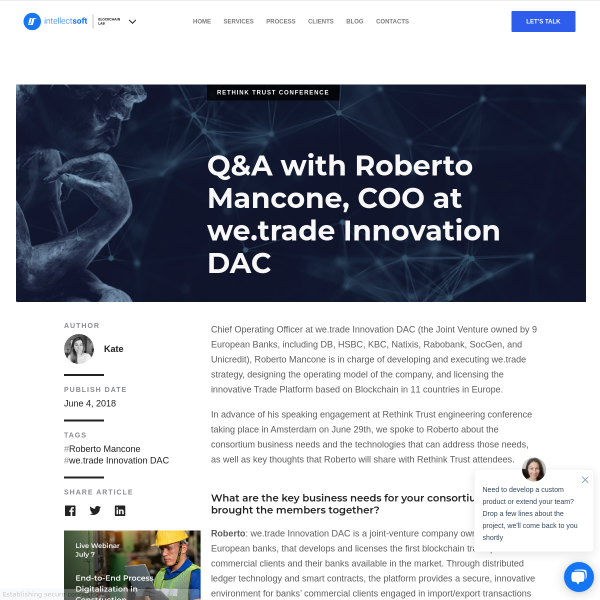 Q&A with Roberto Mancone, COO at we.trade Innovation DAC - Blockchain Lab
