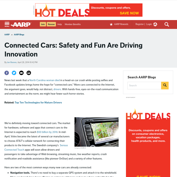 AARP Blog - Connected Cars: Safety and Fun Are Driving Innovation