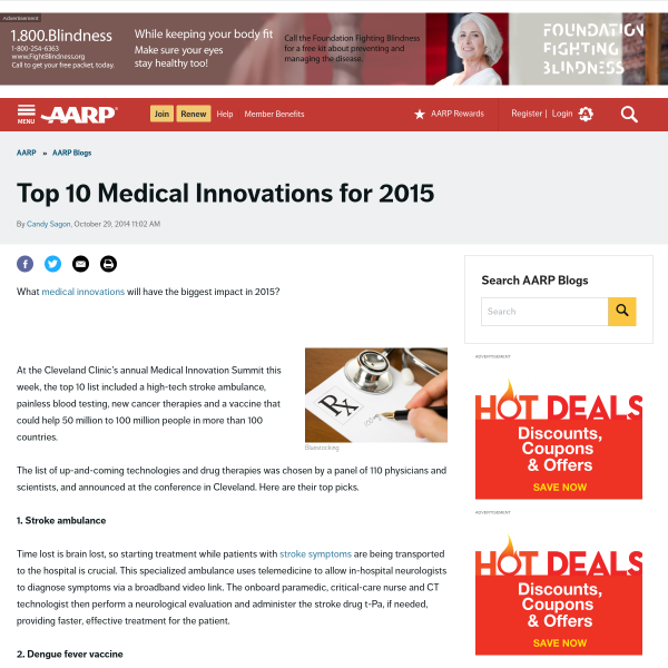 AARP Blog - Top 10 Medical Innovations for 2015