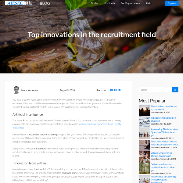 Top innovations in the recruitment field - AIESEC - Blog