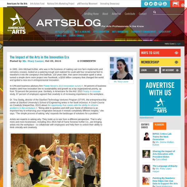 The Impact of the Arts in the Innovation Era
