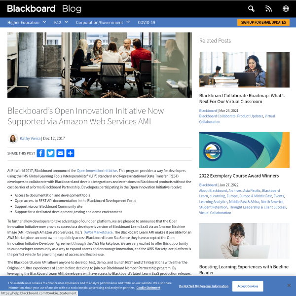 Blackboard's Open Innovation Initiative Now Supported via Amazon Web Services AMI - Blackboard Blog