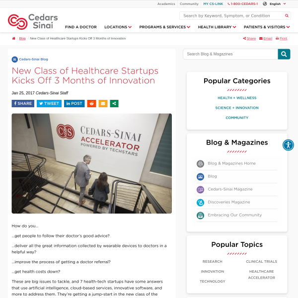 New Class of Health-Tech Startups Kicks Off 3 Months of Innovation - Cedars-Sinai Blog