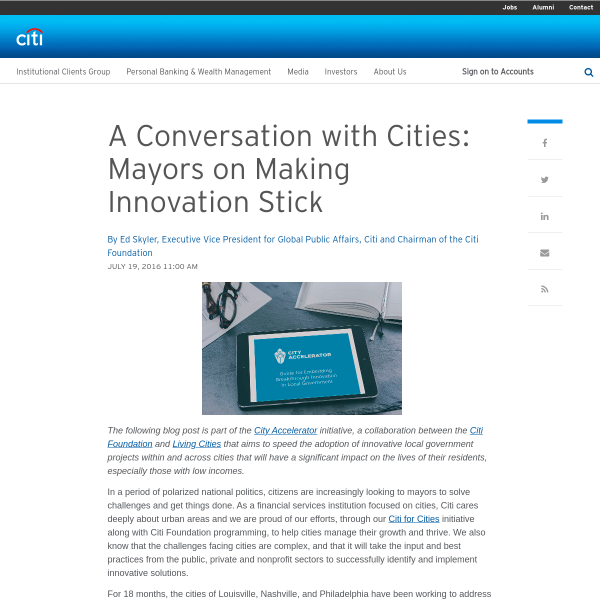 The Citi Blog - A Conversation with Cities: Mayors on Making Innovation Stick