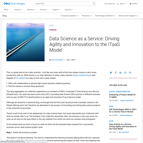 Data Science as a Service: Driving Agility and Innovation to the ITaaS Model - Direct2DellEMC