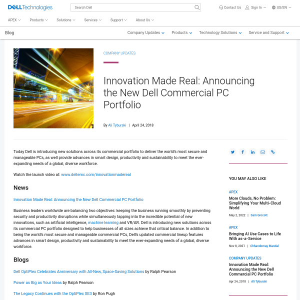 Innovation Made Real: Announcing the New Dell Commercial PC Portfolio - Direct2DellEMC