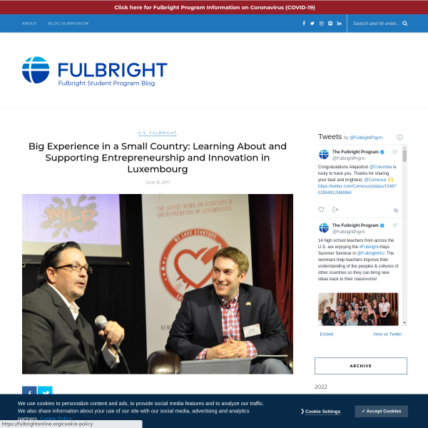 Big Experience in a Small Country: Learning About and Supporting Entrepreneurship and Innovation in Luxembourg - Fulbright Student Program Blog
