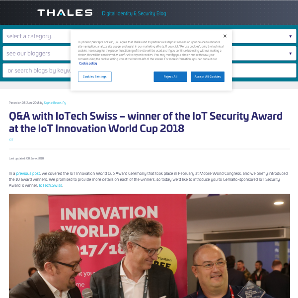 Q&A with IoTech Swiss – winner of the IoT Security Award at the IoT Innovation World Cup 2018